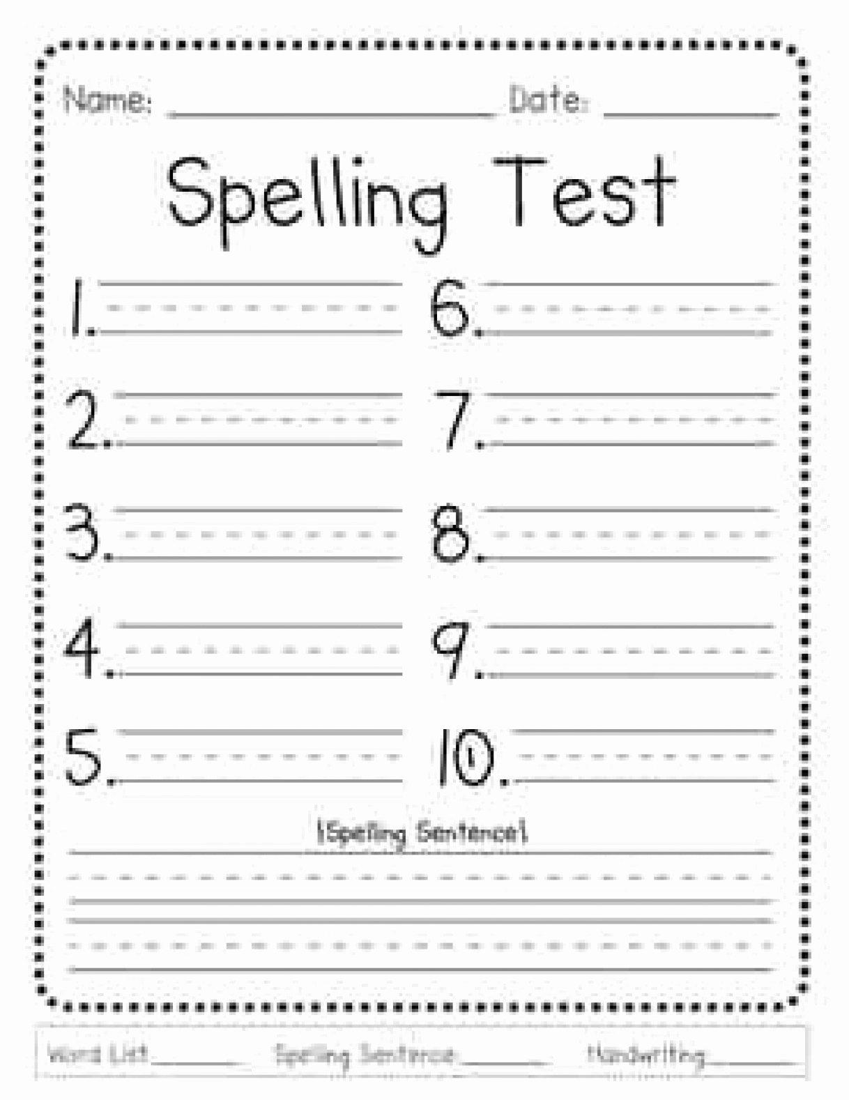 Spelling Test Template – Third Grade Spelling assessment