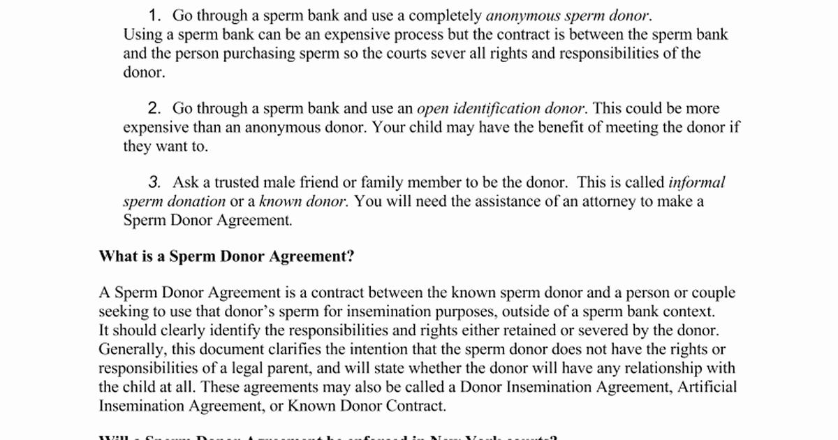 Sperm Donor Agreement Info Sheet 9 22 14cx Google Docs