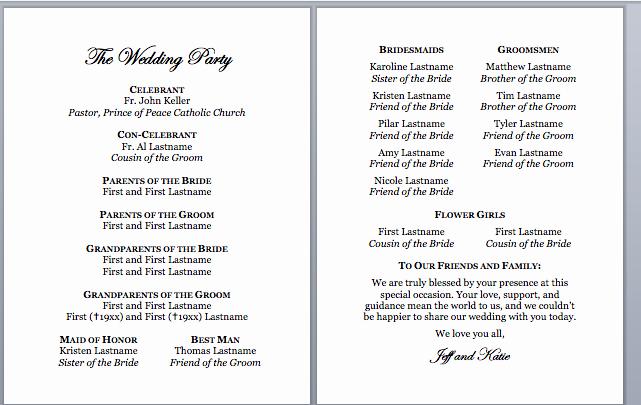 Spirals & Spatulas Catholic Wedding Program