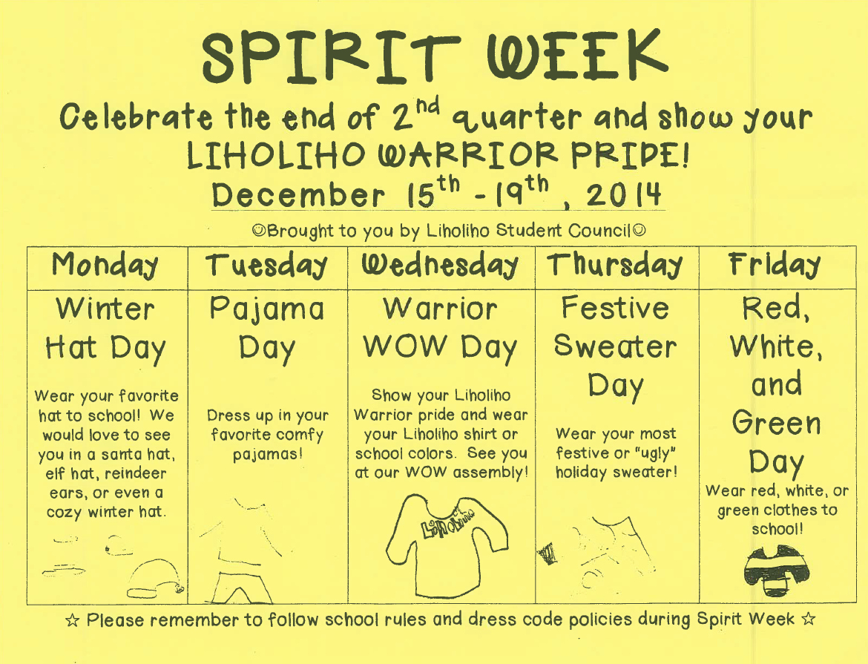Spirit Week Dec 15 — Dec 19 Liholiho Laulima Pta
