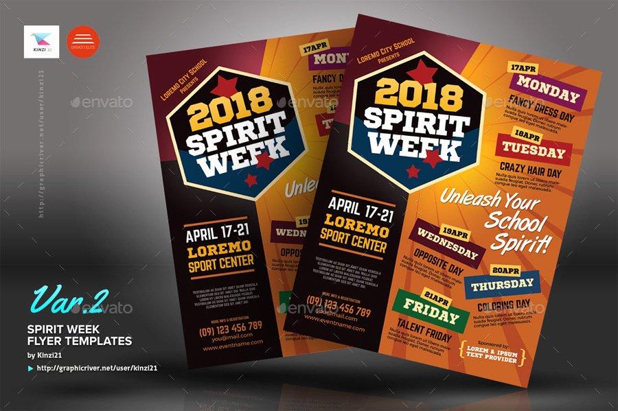 Spirit Week Flyer Templates by Kinzi21
