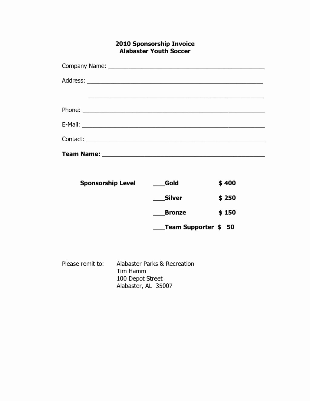 Sponsorship Invoice Template Word