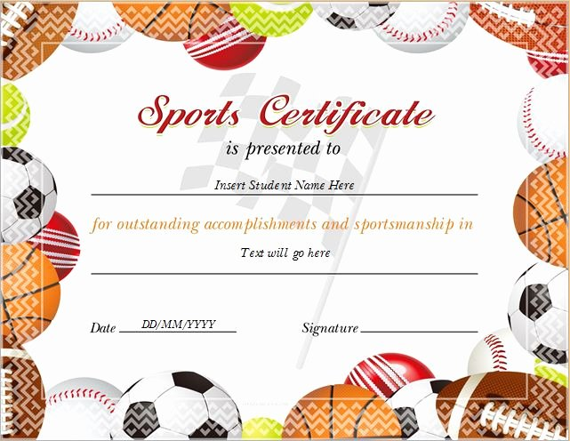 Sports Certificate Templates for Ms Word