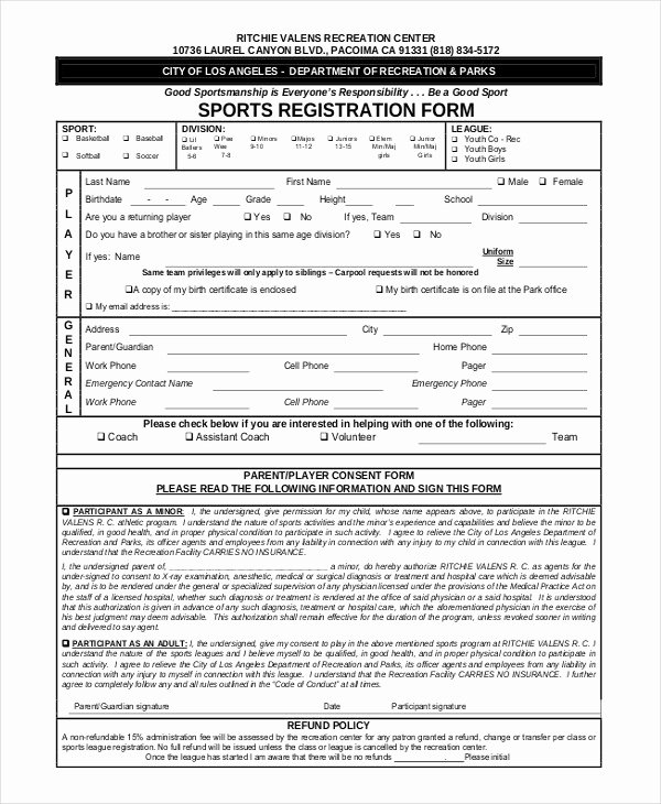 Sports Registration forms Template Free Download