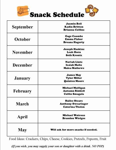Sports Schedule Calendar Template