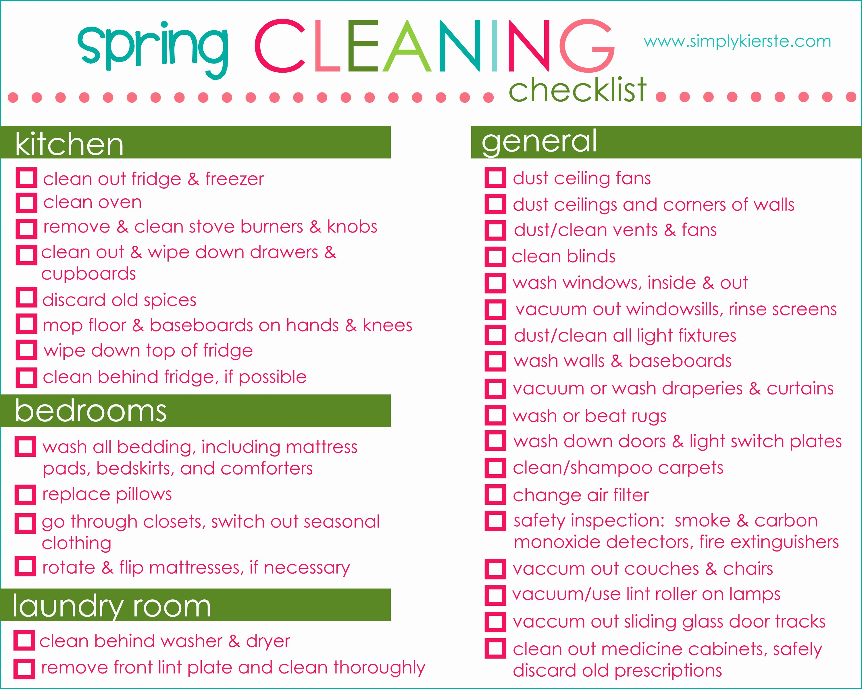 Spring Cleaning Checklist Tips & Free Printable