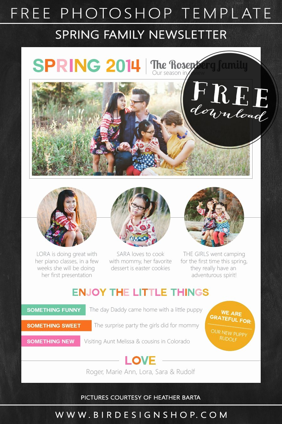 Spring Family Newsletter Free Photoshop Template – Birdesign