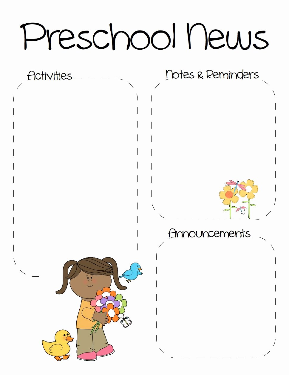 Spring Preschool Newsletter Template