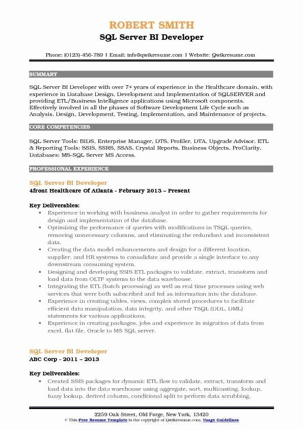 Sql Server Bi Developer Resume Samples