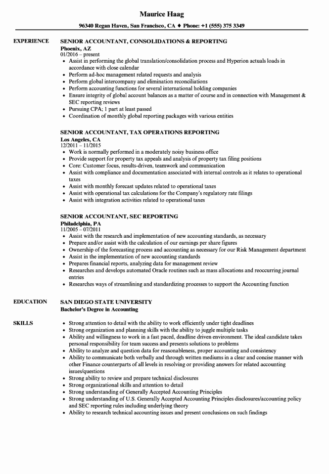 Sr Accountant Resume Resume Sample