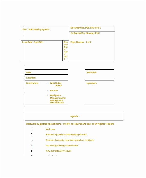 Staff Meeting Agenda Template – 10 Free Word Pdf