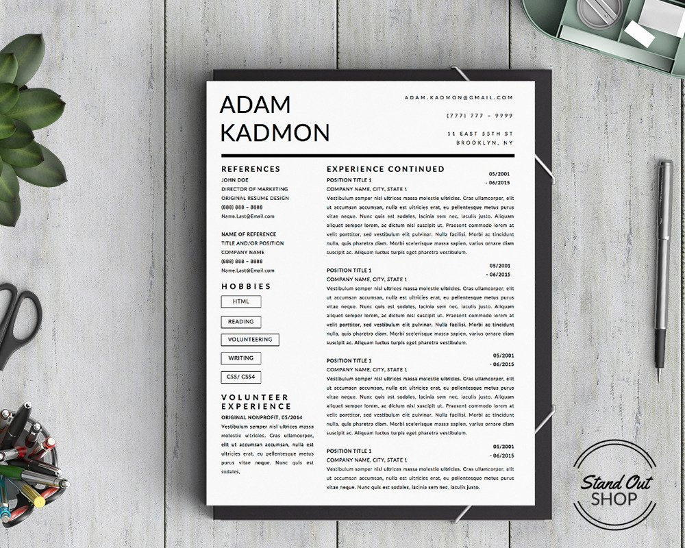 Stand Out Shop — Modern 2 Page Resume Template for