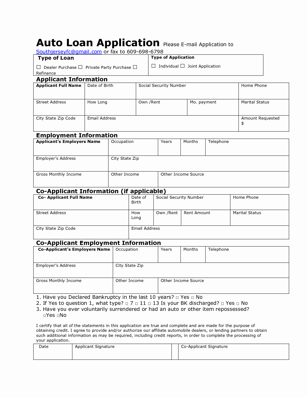 auto loan application form sample and template vlashed