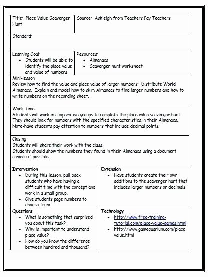 Standard Based Lesson Plan Template Ohio Standards Weekly