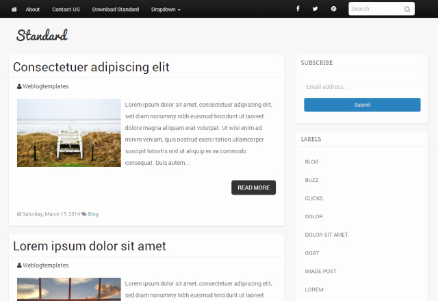 Standard Blogger Template A Simple Responsive Blogger theme