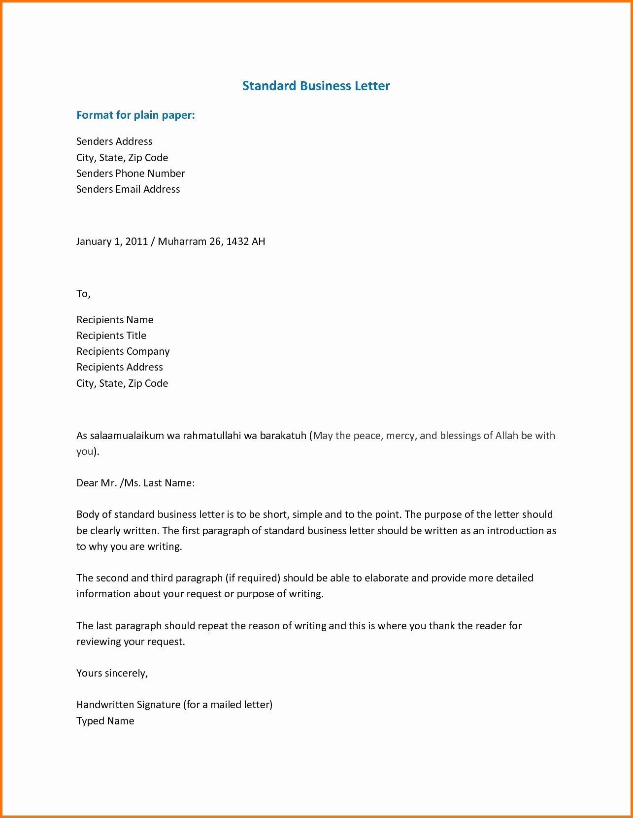 Standard Business Letter