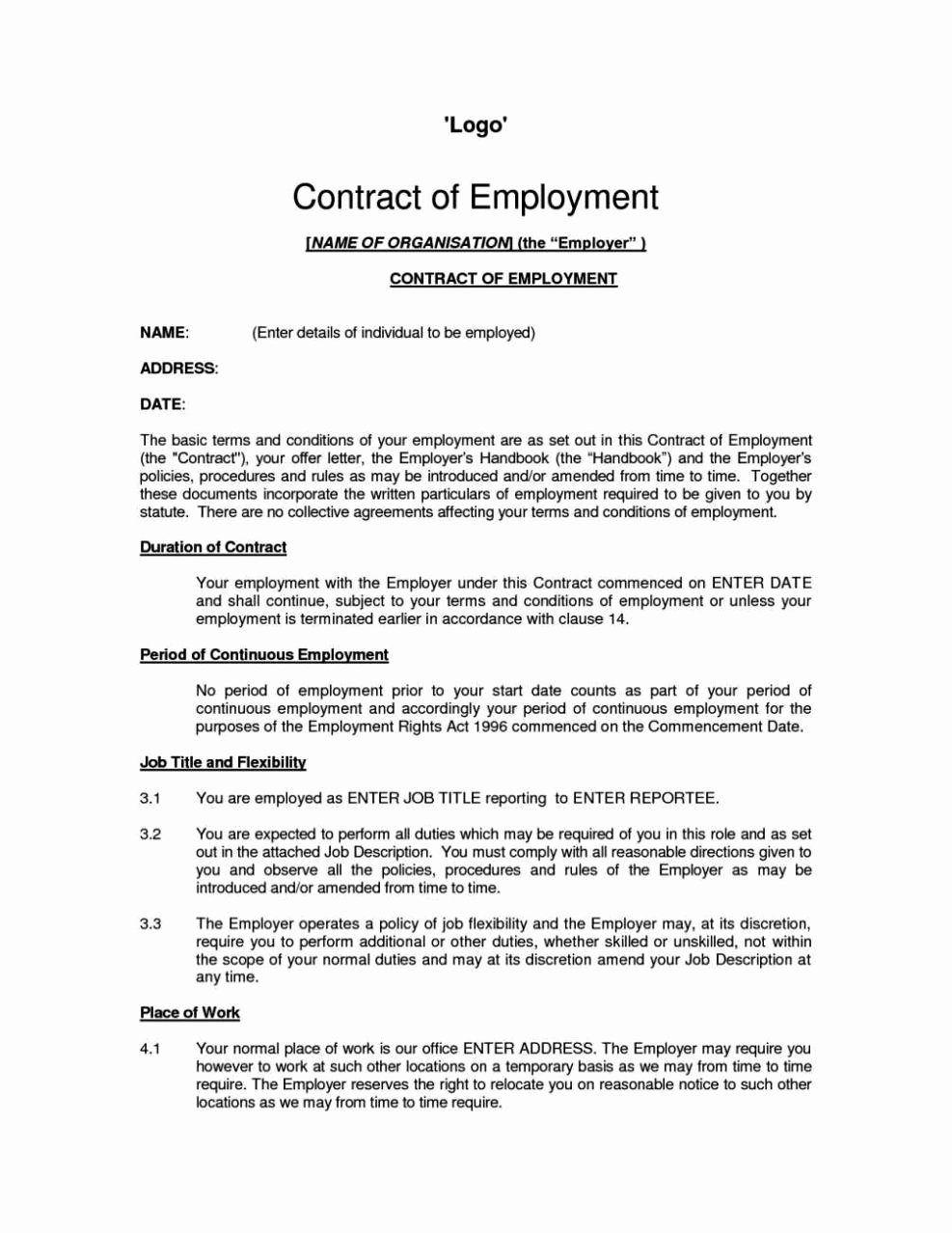 Standard Employment Contract Template Sampletemplatess