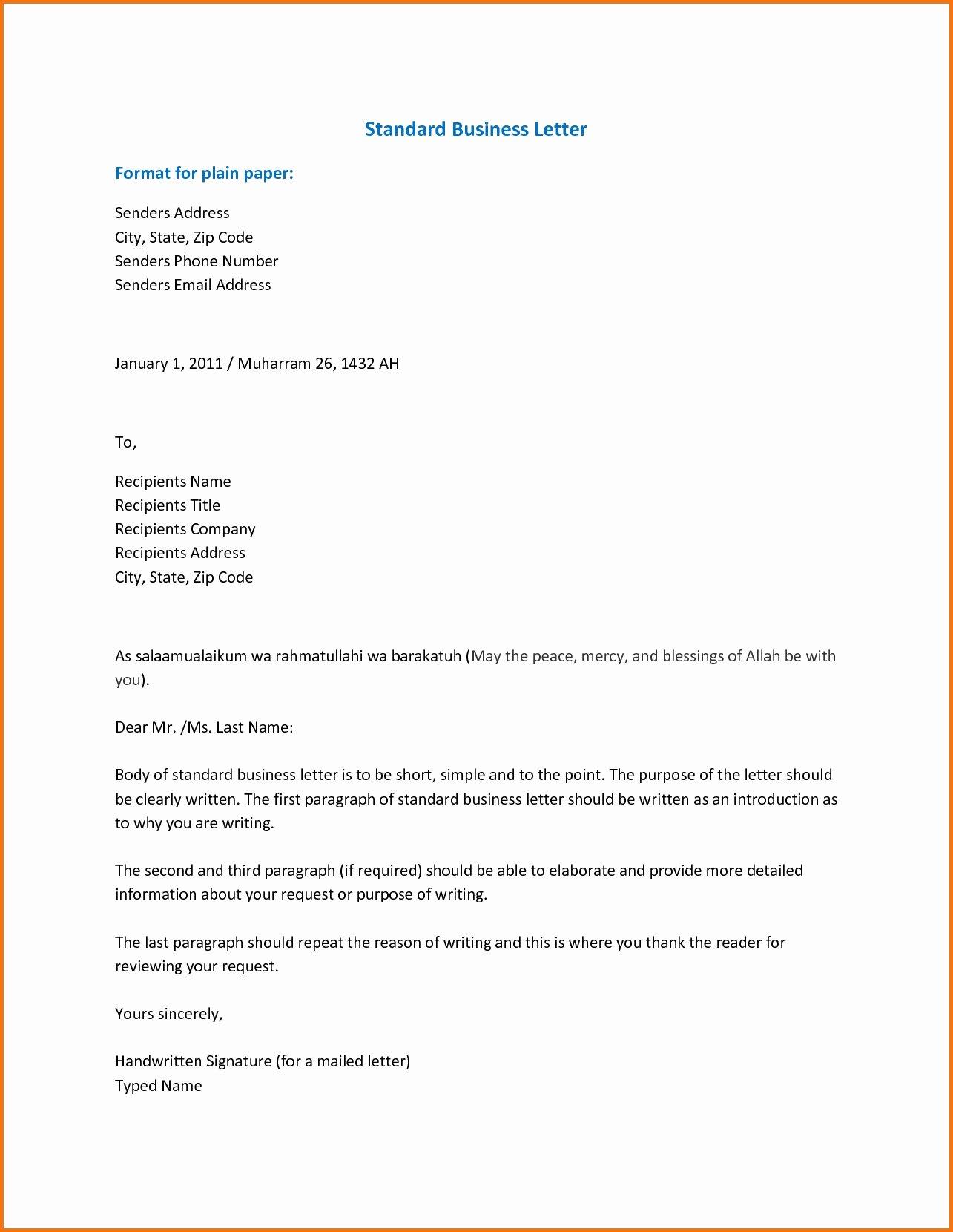 Standard formal Letter format