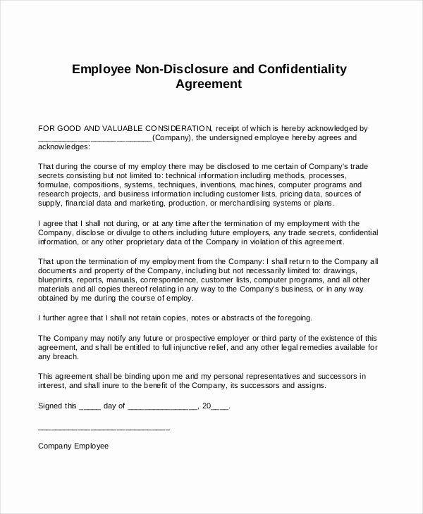 Standard Non Disclosure Agreement form – 10 Free Word