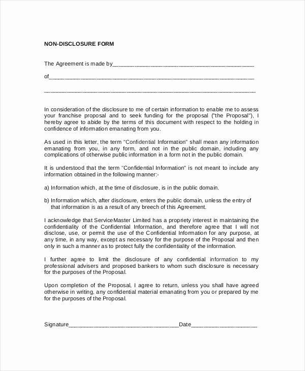 Standard Non Disclosure Agreement form 19 Examples In