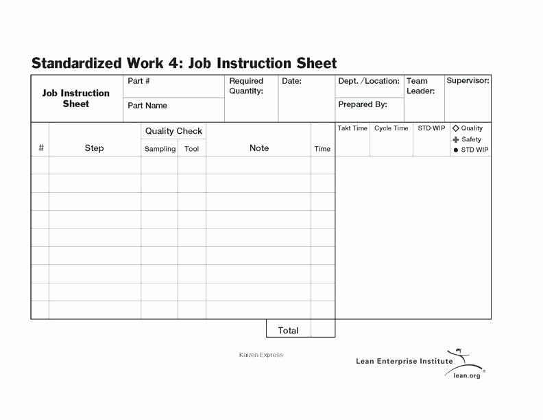 Standard Work Instructions Excel Template Create