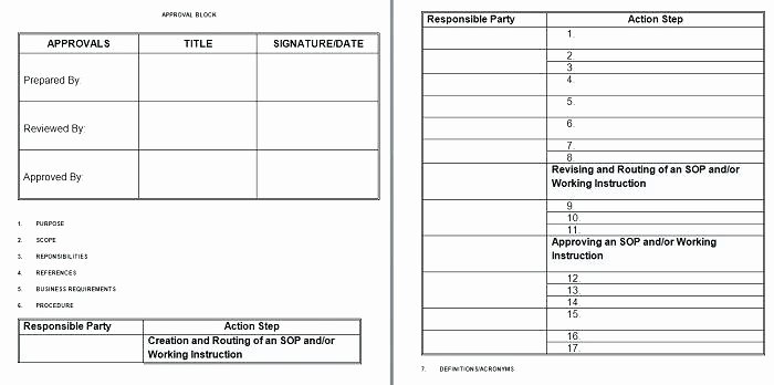 Standard Work Instructions Excel Template Work Sheet Bo