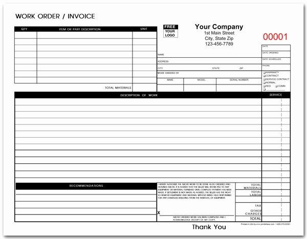Standard Work order forms