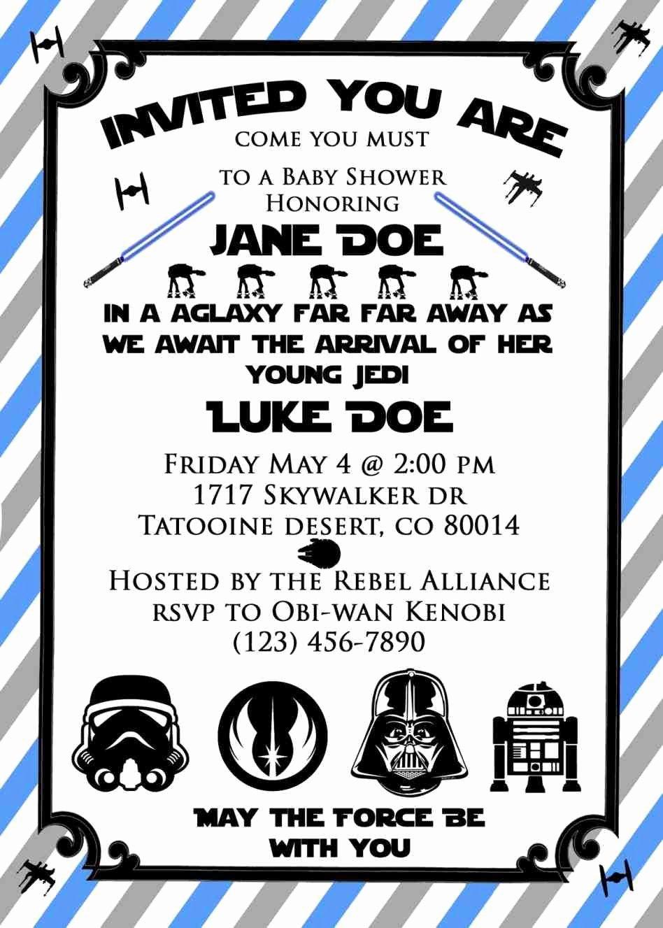 Star Wars Birthday Party Invitation Templates Free