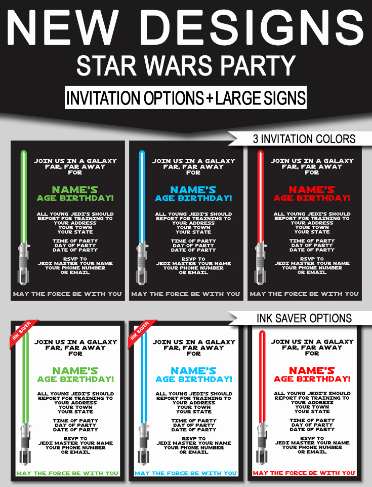 Star Wars Birthday Party Invitations & Signs