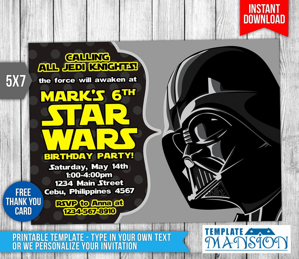 Star Wars Invitation Birthday Invitation Psd by