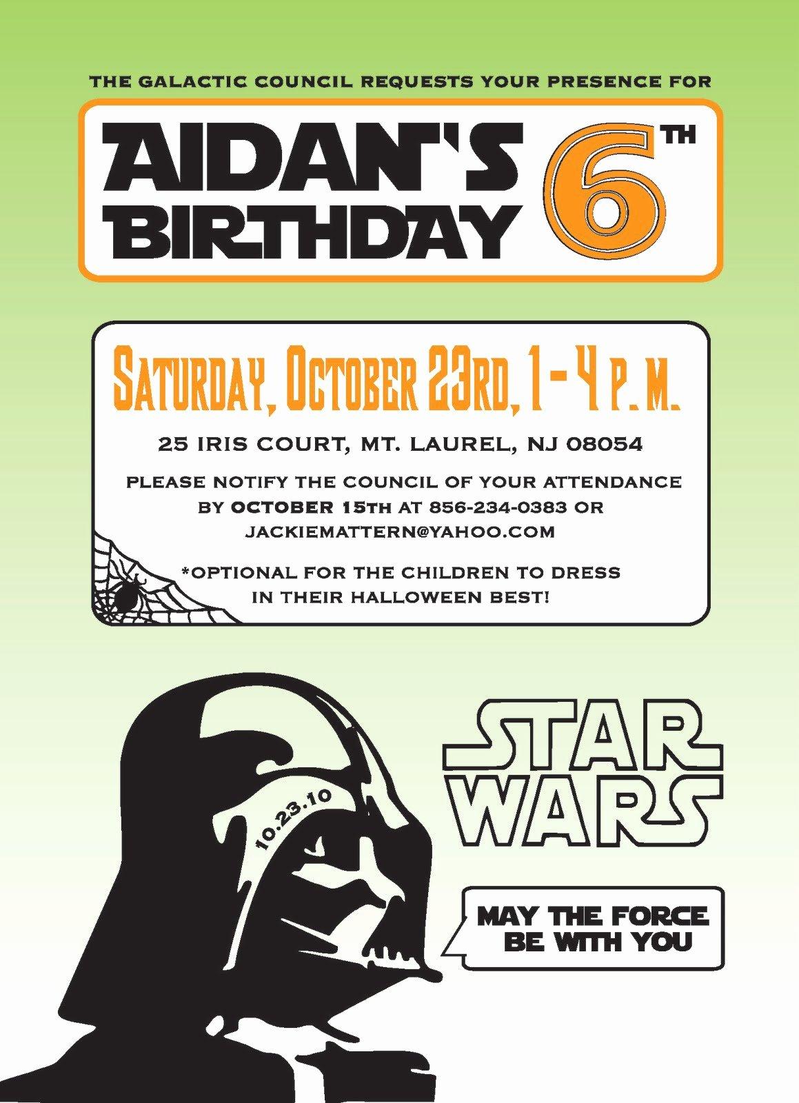 Star Wars Invitation Printable Templates