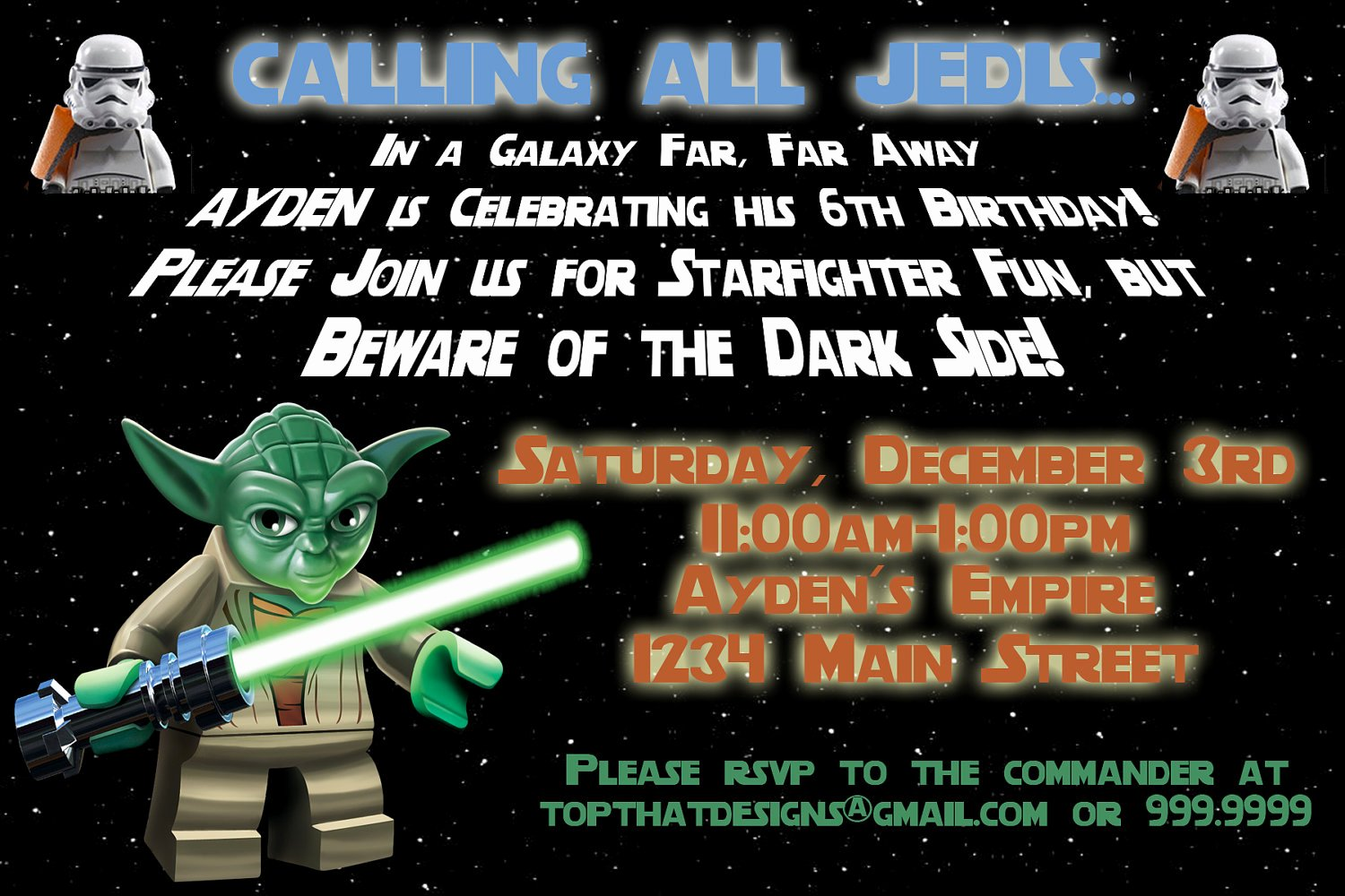 Star Wars Party Invitation Templates