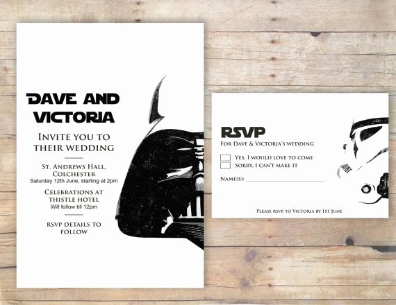 Star Wars Wedding Invitation Rsvp by Flurgdesigns On Etsy