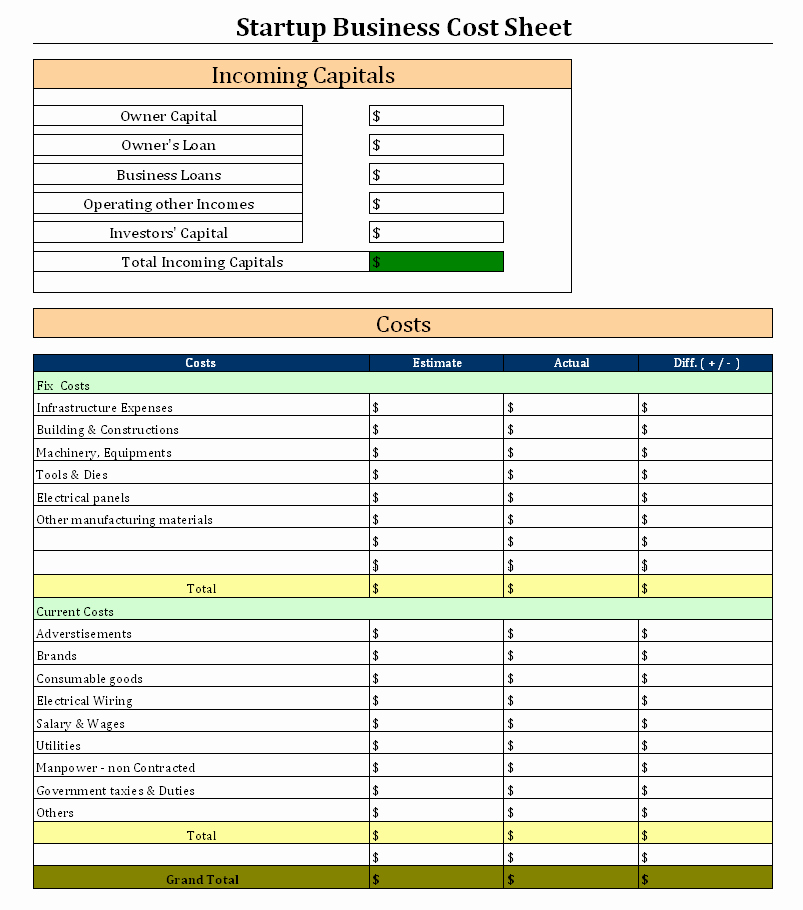 Start Up Business Cost Sheet