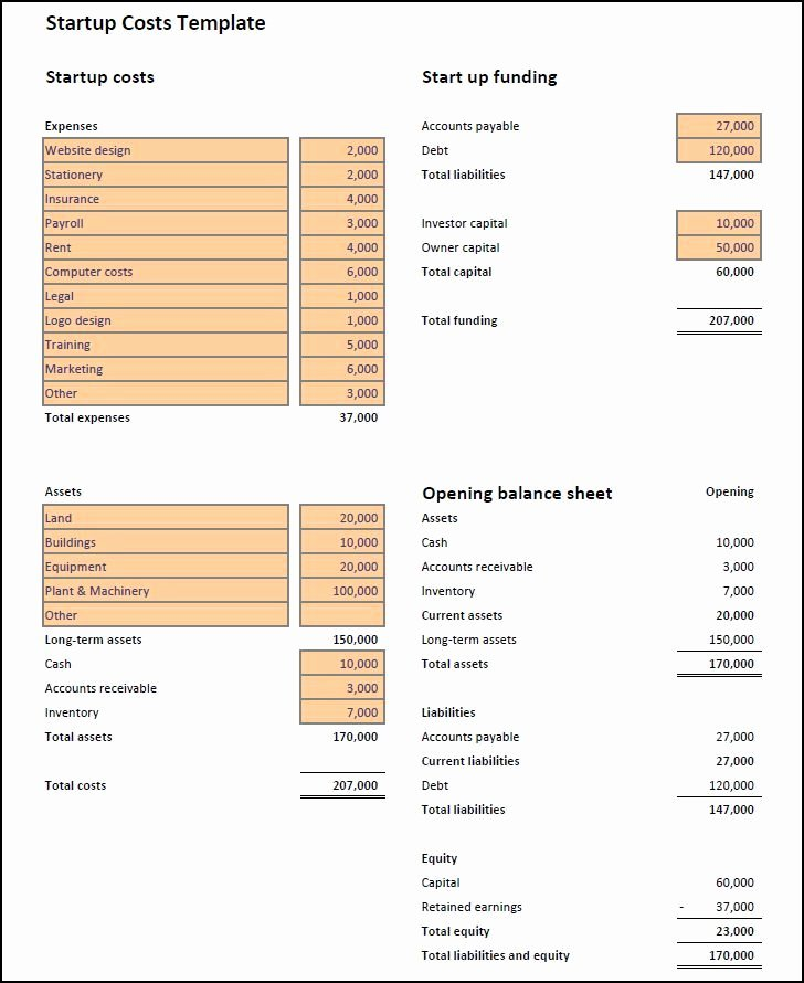 Start Up Costs Calculator Template