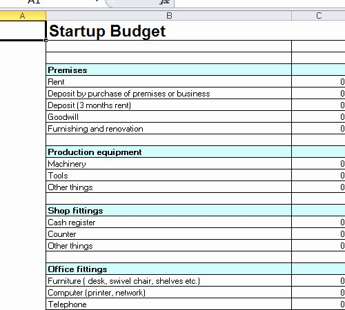 Startup Bud Template Excel