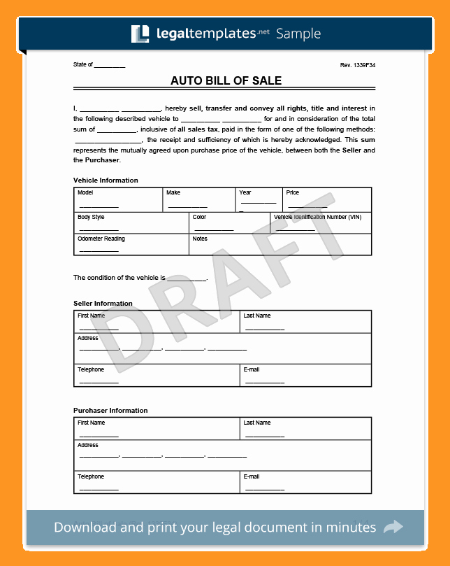 State Of Texas Vehicle Bill Of Sale