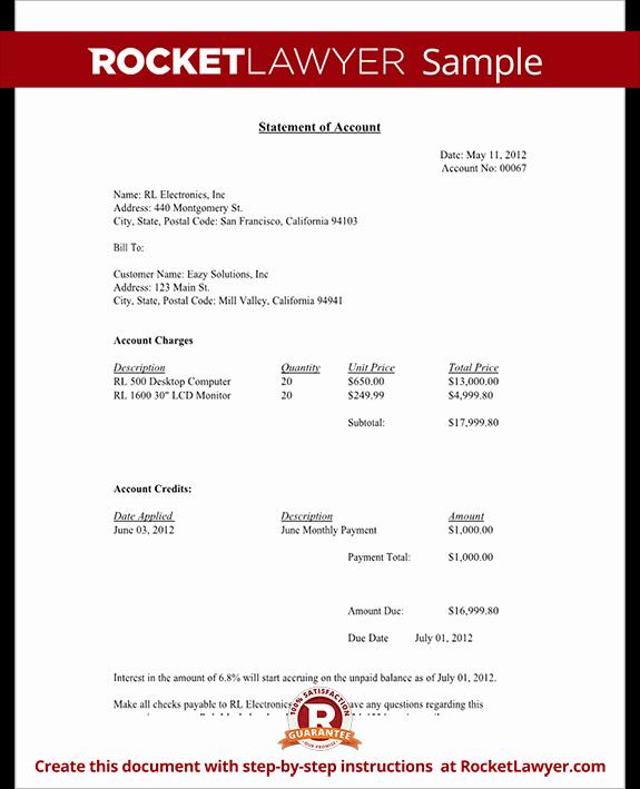 Statement Of Account Free Statement Of Account Letter