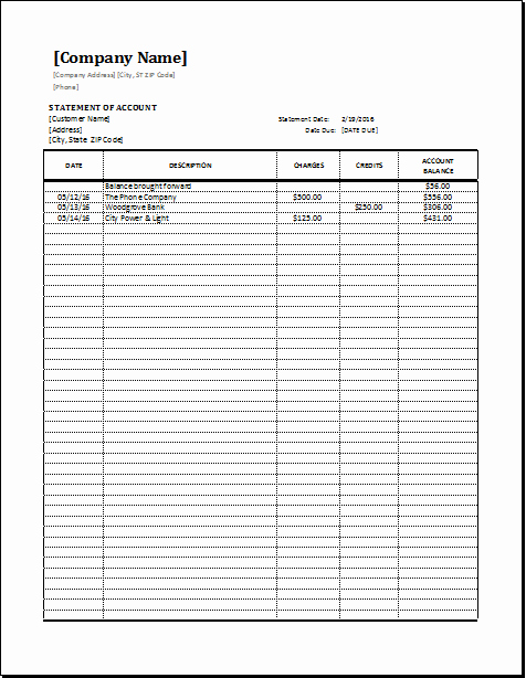 Statement Of Account Template Excel