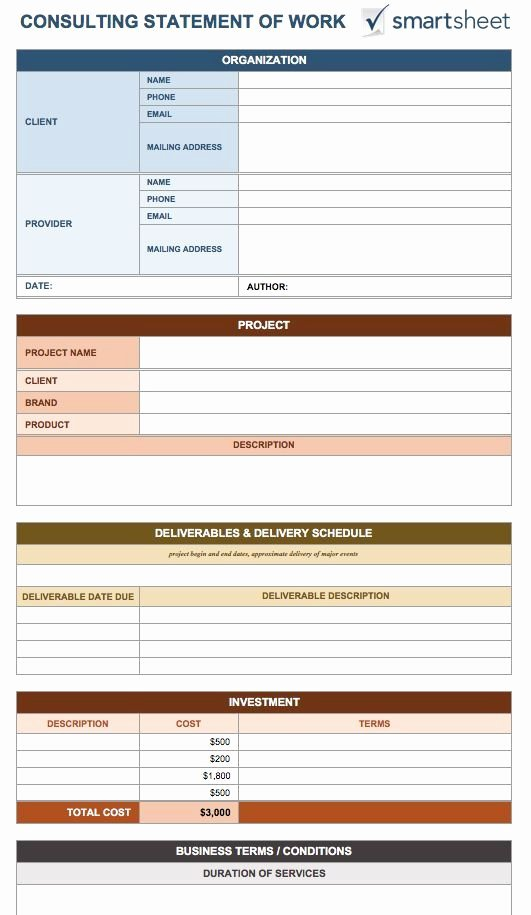 Statement Of Work Template 8 Free Word Excel Pdf