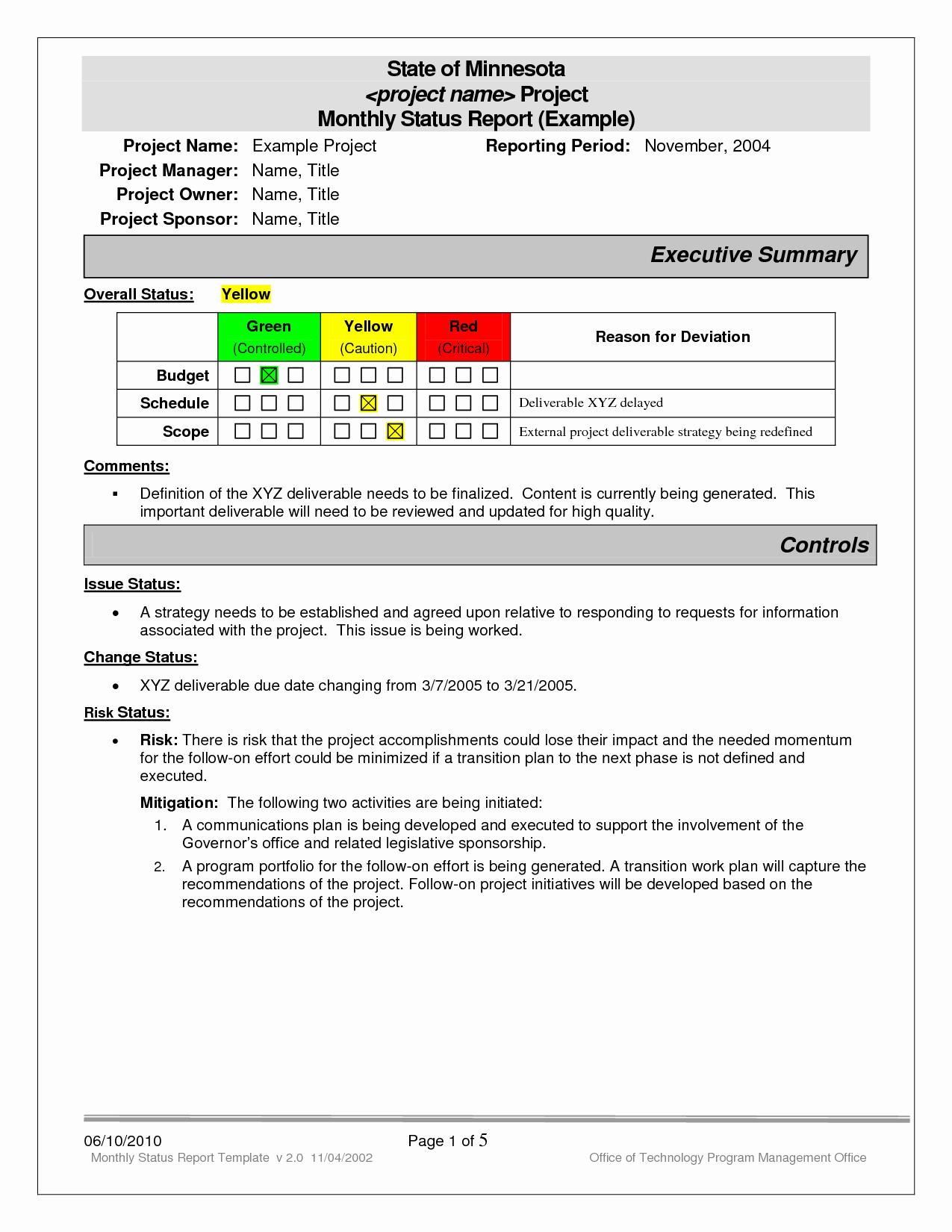 Status Report Examples Bamboodownunder