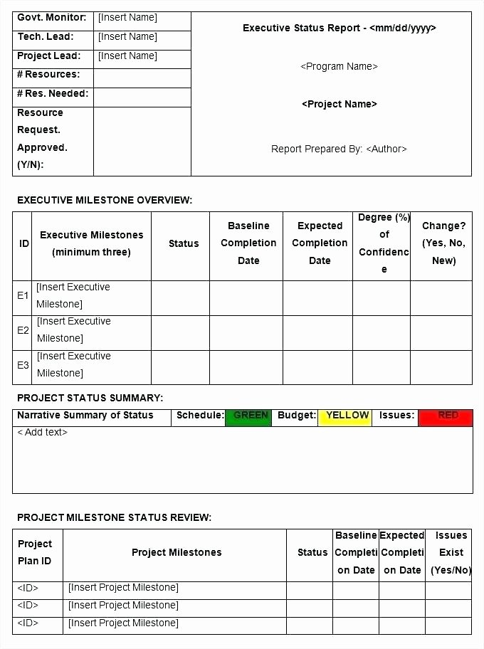 Status Report Template Excel Free Download Project Status