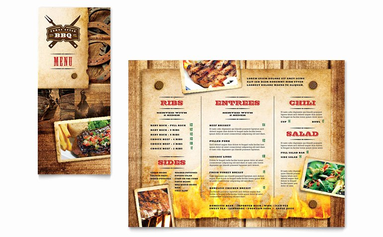 Steakhouse Bbq Restaurant Take Out Brochure Template
