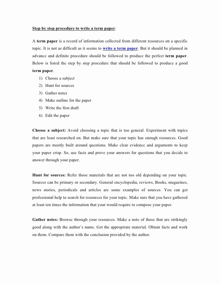 Step by Step Procedure to Write A Term Paper