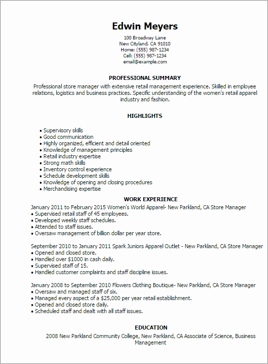 Store Manager My Perfect Resume