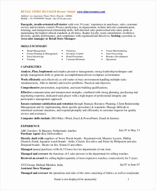 Store Manager Resume 9 Free Pdf Word Documents