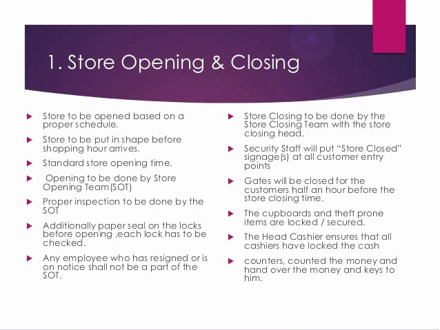 Store Operating Procedure for Store Manager