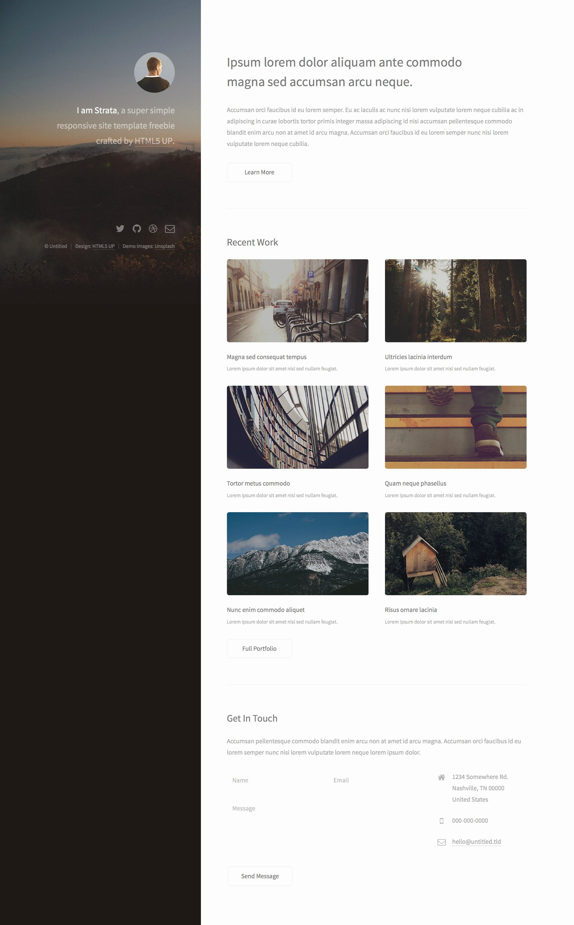 Strata Free Responsive HTML5 Personal Template
