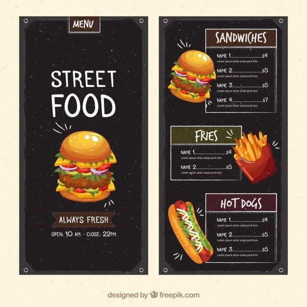 Street Food Menu Template Vector