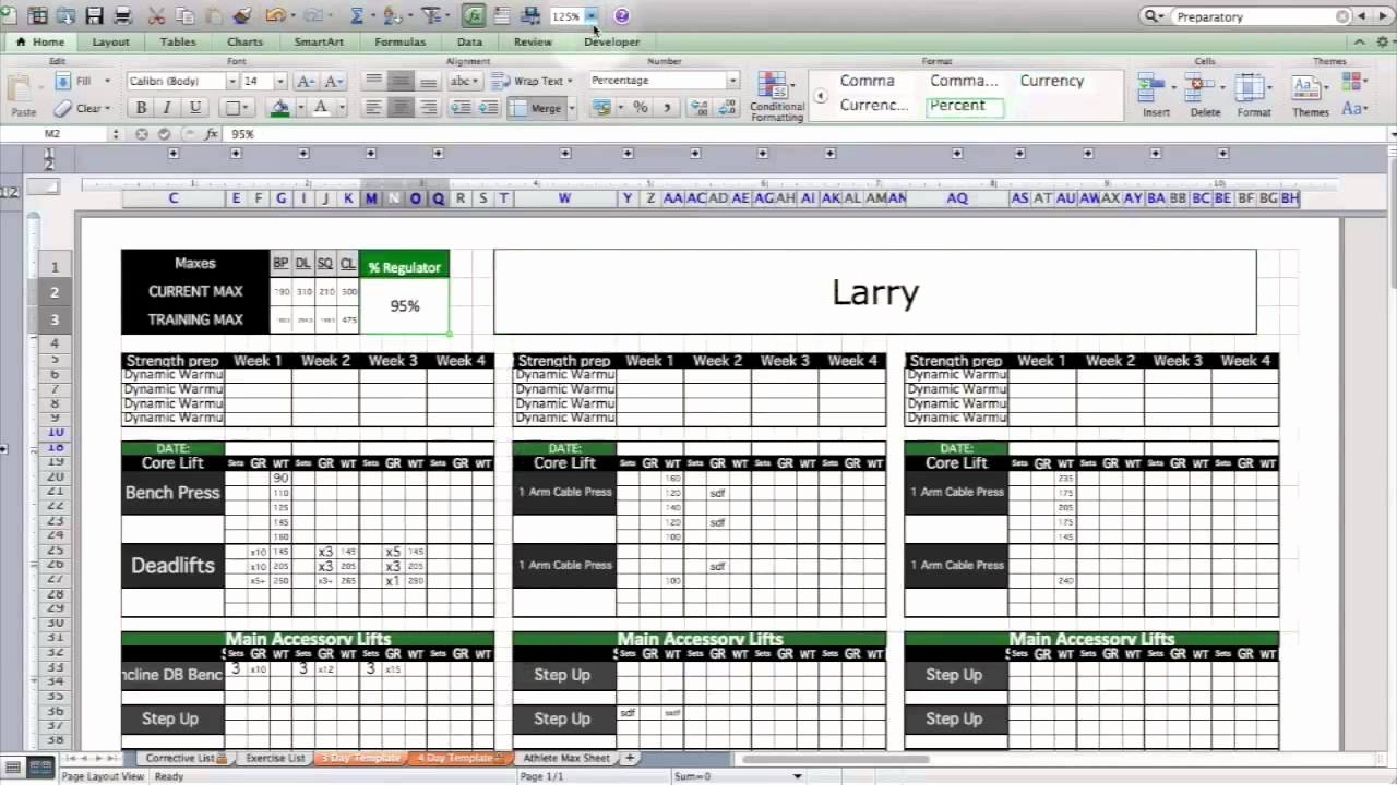 Strength & Conditioning Excel Template Level 1